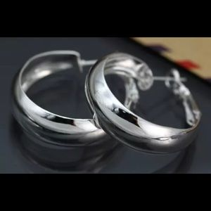 Jewelry - STERLING SILVER PLATED CLASSIC SIMPLE HOOP EARRING